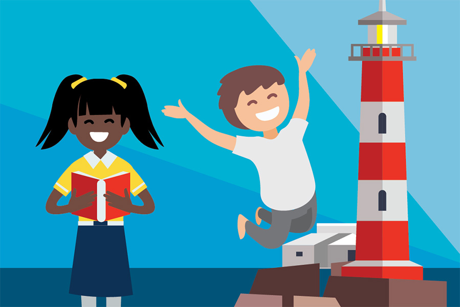 a digital illustration of a boy and a girl (the boy is jumping in the air) standing in front of a red and white striped lighthouse