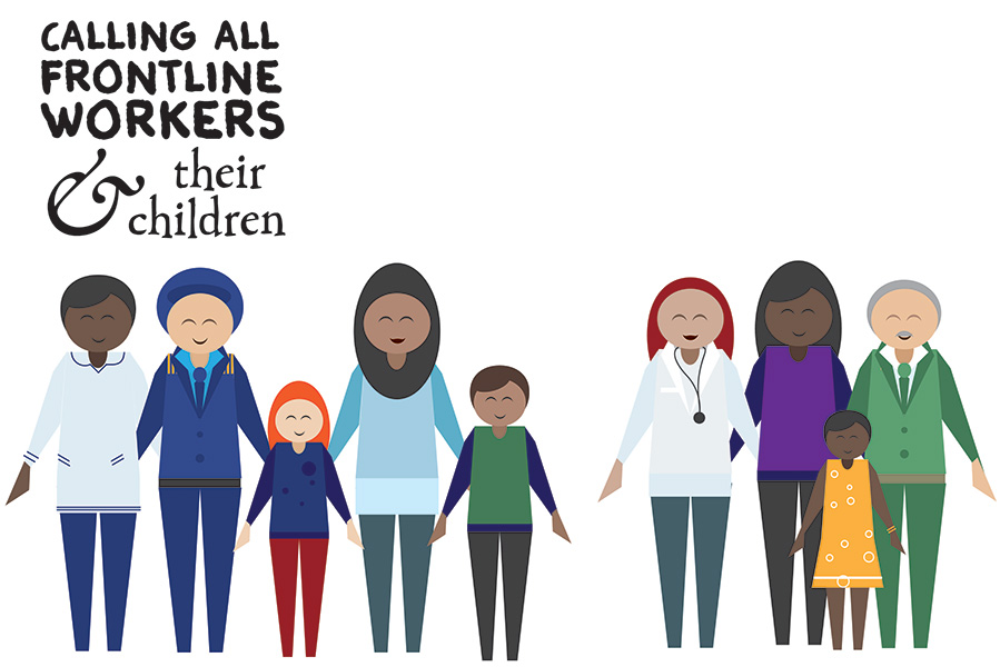 """""""calling all frontline workers and their children"""" poster with illustrations of frontline workers and kids"""