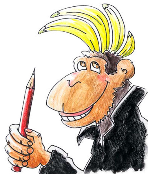 a sketch of punkey the monkey, a fictional character in the Race to Banana Land