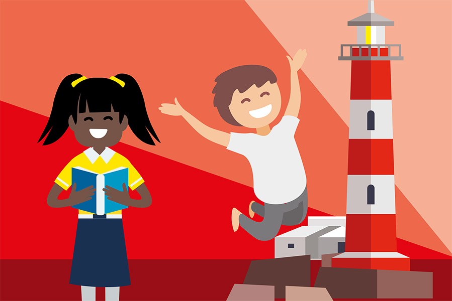 A digital illustration of a girl and a boy, who is jumping in the air, in front of a red and white striped lighthouse