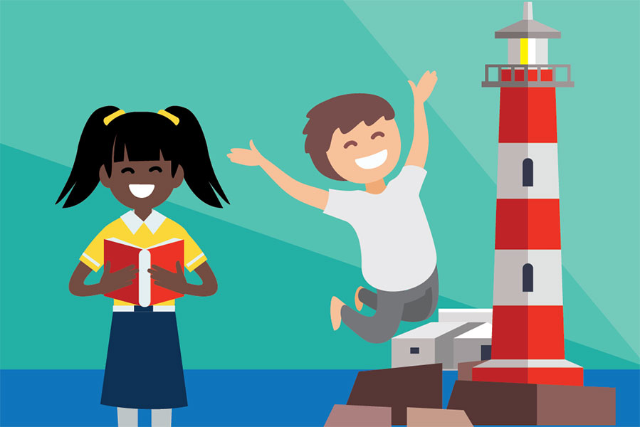 Young Storykeepers illustration of a girl and a boy, who is jumping in the air, standing in front of a lighthouse