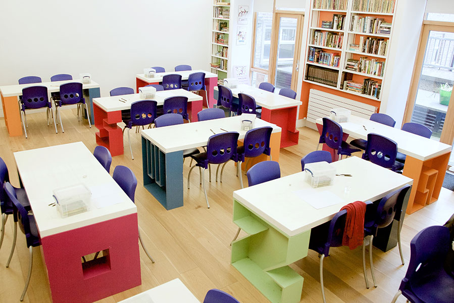 picture of a classroom with no children