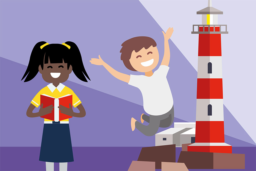 A digital illustration of a young boy and girl standing beside a red and white striped lighthouse