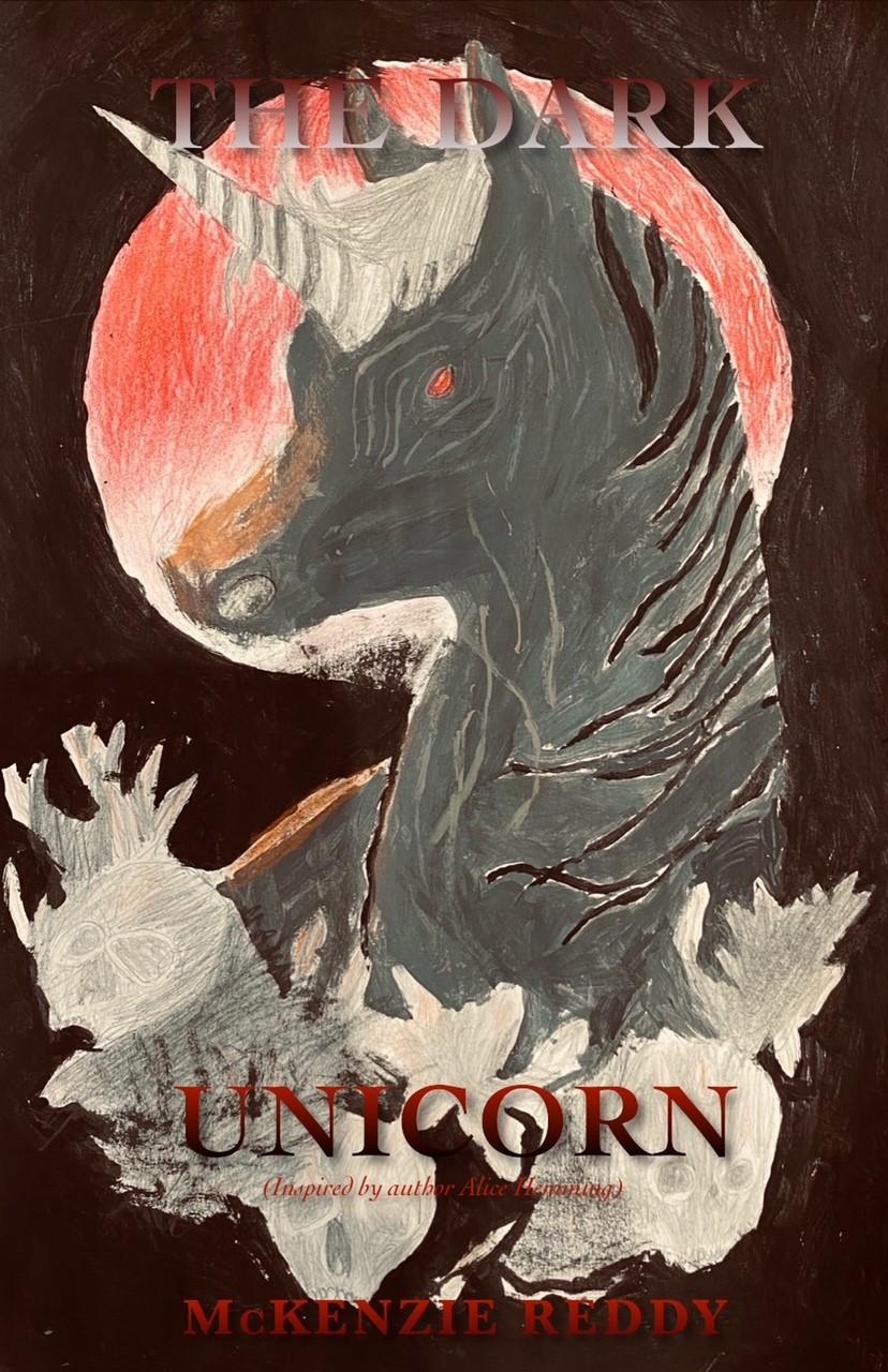 An illustration for The Dark Unicorn written by McKenzie Reddy