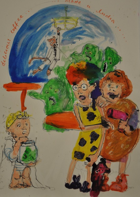 An illustration accompanied by One Story, Many Endings, written by St Bernard's Primary School, p5