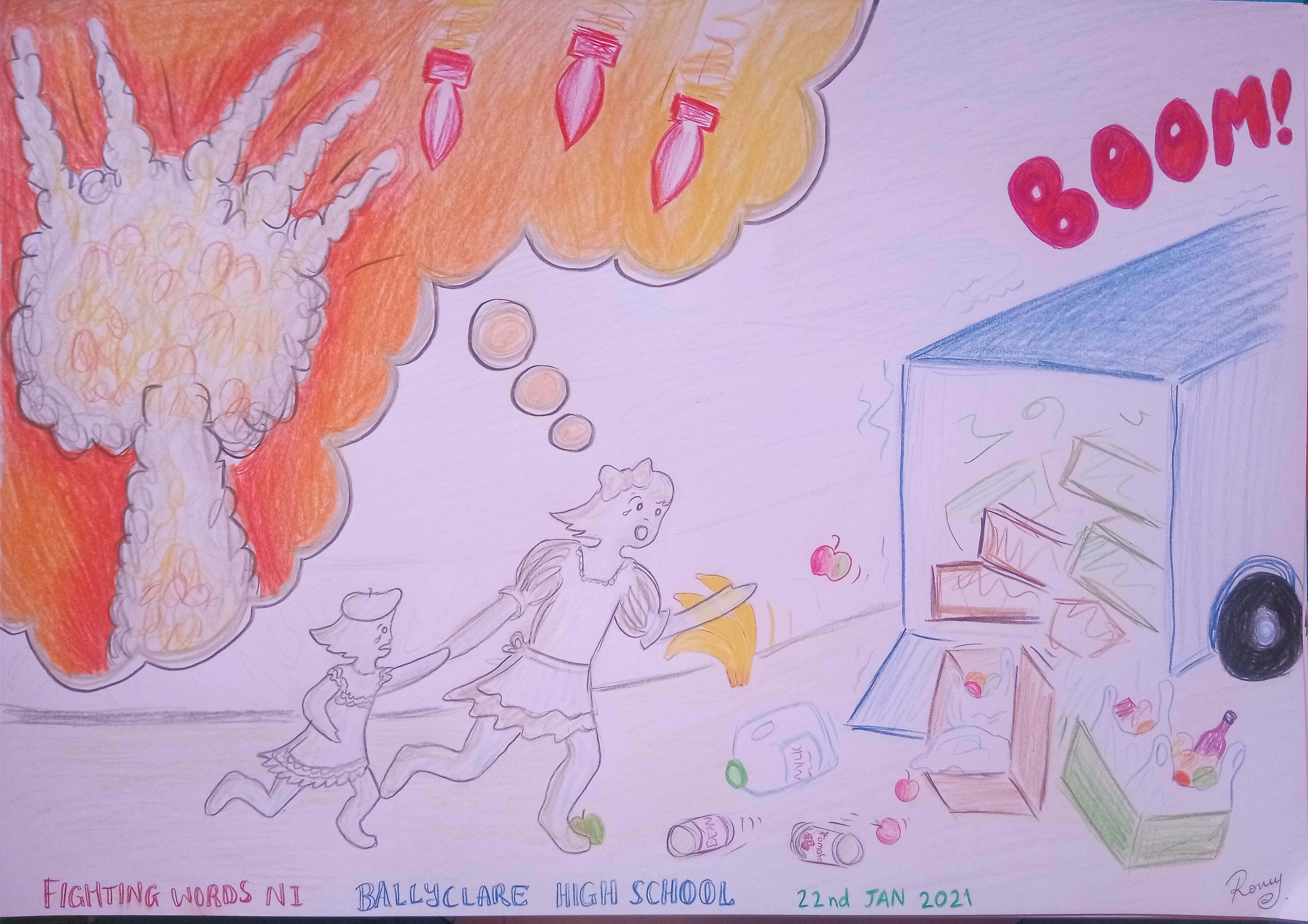 An Illustration for The Ghost in World War 1, written by Ballyclare High School, Year 9