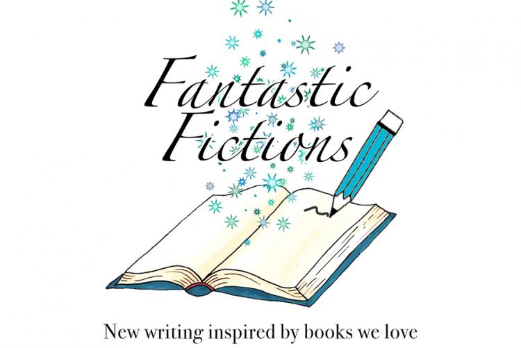 graphic to promote Fantastic Fiction with a pencil writing on a blank book