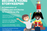 A digital illustration of a young boy and girl standing infront of a red and white striped lighthouse, in a poster advertising Young StoryKeepers.